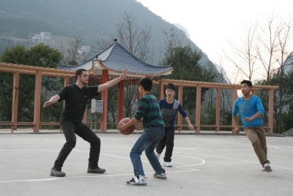 CB plays basketball with the local kids- they we're pretty good! I sat this one out!
