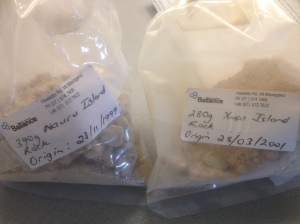 Nauru and Christmas Island Rock Phosphate samples courtesy of Balance