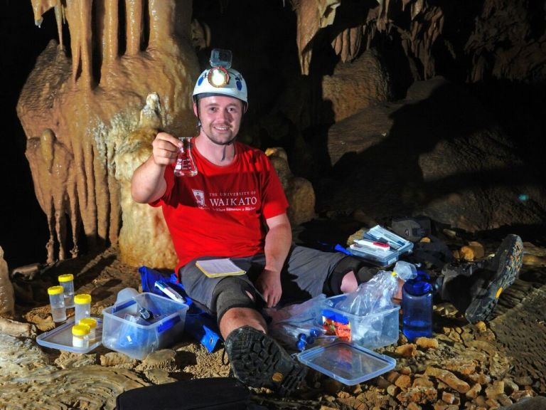 Adam in Puatea Cave_ Photo by Garry Smith